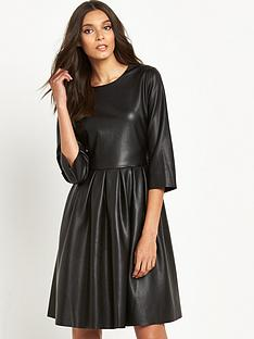 replay-replay-leather-look-midi-skater-dress
