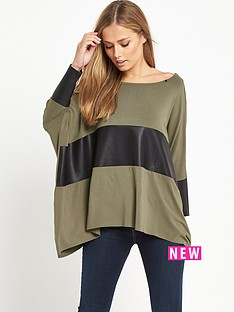 replay-slouchy-leather-insert-top-taupe