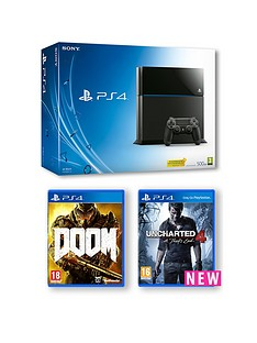 playstation-4-500gb-console-with-uncharted-4-a-thiefs-end-and-doom-with-optional-extra-controller-365-days-psn-subscription