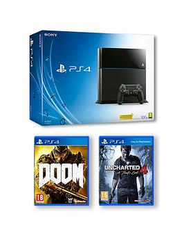 playstation-4-500gb-console-with-uncharted-4-and-doom-with-optional-extra-controller-and-playstation-plus