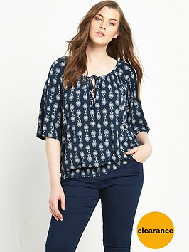 so-fabulous-print-banded-hem-top-navy