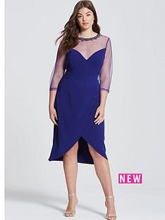 little-mistress-curve-sheer-sleeve-wrap-front-dress-navy