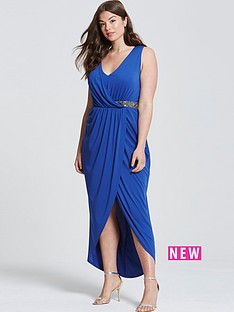 little-mistress-curve-v-neck-embellished-detail-wrap-front-dress-blue