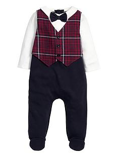 mamas-papas-mamas-amp-papas-tartan-waistcoat-all-in-one