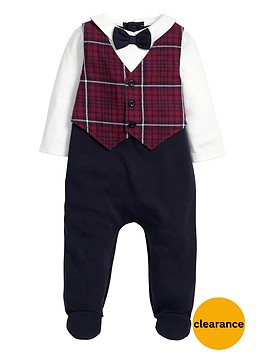 mamas-papas-mamas-amp-papas-tartan-waistcoat-all-in-one