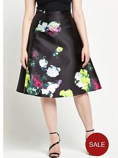 ax-paris-curve-printed-skater-midi-skirt-floral-print
