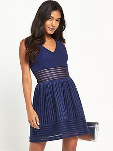 tfnc-marellanbsptextured-sheer-stripe-skater-dress