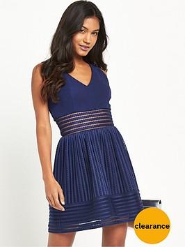 tfnc-marellanbsptextured-sheer-stripe-skater-dress