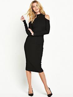 guess-leila-cold-shoulder-midi-dress