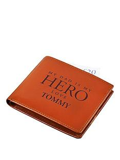 personalised-dad-is-my-hero-tan-leather-wallet