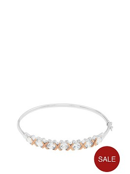 the-love-silver-collection-sterling-silver-and-rose-gold-plated-cubic-zirconia-kiss-bangle