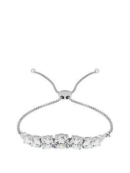the-love-silver-collection-sterling-silver-rhodium-plated-cubic-zirconianbspadjustable-friendship-bracelet