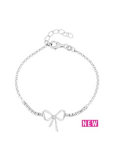 the-love-silver-collection-sterling-silver-crystal-and-bow-bracelet