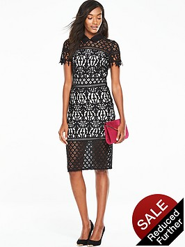 v-by-very-lace-dress-with-collar-nudeblack