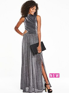 v-by-very-metallic-high-neck-split-front-maxi-dress-silver