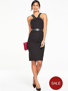 v-by-very-pu-trim-eyelet-bodycon-dress
