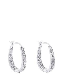 the-love-silver-collection-sterling-silver-double-crystal-set-oval-creole-earrings
