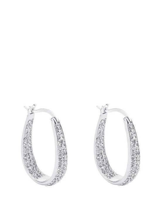 f1abc7dba The Love Silver Collection Sterling Silver Double Crystal Set Oval Creole  Earrings
