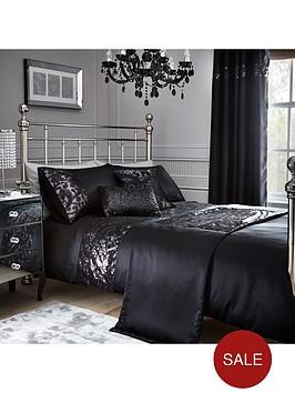 sequin-floral-lace-border-duvet-set-black