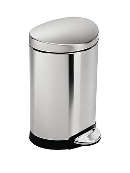 simplehuman-6-litre-semi-round-stainless-steel-pedal-bin-in-brushed-steel
