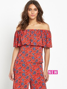 v-by-very-frill-crop-top-orange-ditsy-floral-print