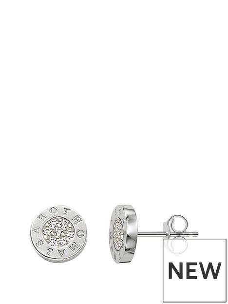 thomas-sabo-sterling-silver-classic-logo-cubic-zirconia-stud-earrings