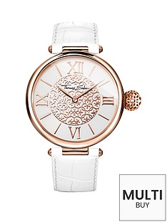 thomas-sabo-karma-white-dial-rose-tone-case-white-leather-strap-ladies-watchnbspplus-free-diamond-bracelet