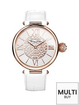 thomas-sabo-karma-white-dial-rose-tone-case-white-leather-strap-ladies-watchnbspplus-free-diamond-bracelet