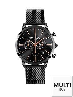 thomas-sabo-eternal-rebel-chronographnbspblack-stainless-steel-mesh-bracelet-watchnbspplus-free-karma-bead-bracelet