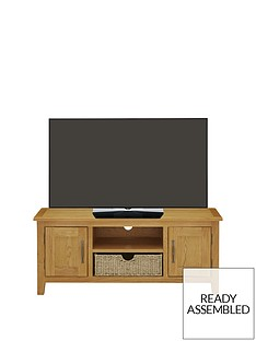 Luxe Collection - London Seagrass Oak Ready Assembled Large TV Unit - fits up to 55 Inch TV