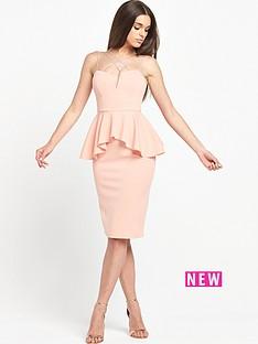 rare-strappy-peplum-midi-dress
