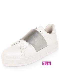 river-island-elastic-lace-up-runner-white-trainer
