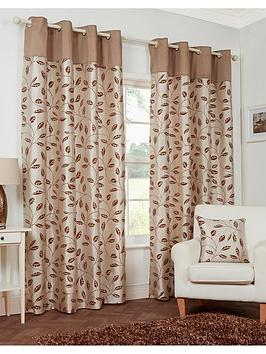 LEAF TRAIL FLOCK LINED EYELET CURTAINS Part 96