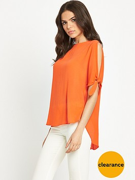 river-island-tie-sleeve-top-bright-orange