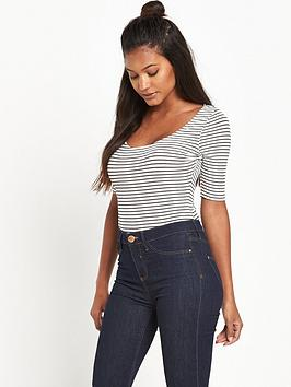 river-island-stripe-ribbed-scoop-neck-bodysuit
