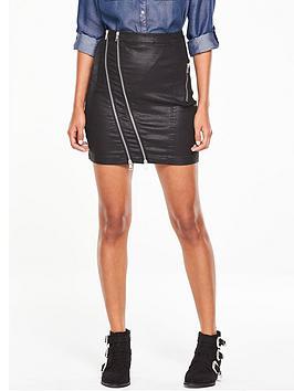 v-by-very-high-waist-coated-asymmetric-zip-skirt-black