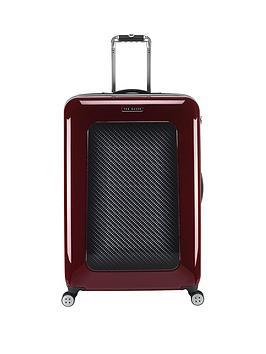 ted-baker-herringbone-burgundy-4-wheel-hard-large-case