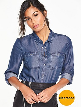 v-by-very-frayed-hem-tencel-shirt