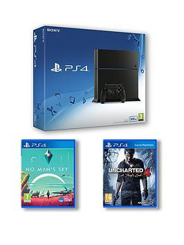 playstation-4-500gb-black-console-with-no-mans-sky-and-uncharted-4-a-thiefs-end-plus-optional-extra-controller-andor-12-months-playstation-network