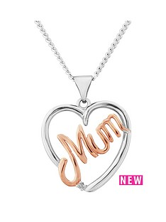 the-love-silver-collection-sterling-silver-rose-gold-plated-mum-heart-pendant