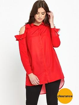 so-fabulous-frill-cold-shoulder-long-line-blouse