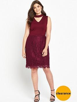 v-by-very-curve-v-neck-top-lace-skirt-dress--nbspbordeaux