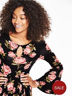 v-by-very-printed-bell-sleeve-jersey-midi-dress