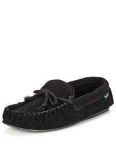 dunlop-suede-moccasin-slipper-black
