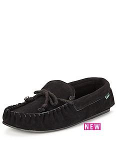 dunlop-suede-moccasin-slipper-black