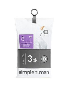 simplehuman-3-packs-of-20-bin-liners-60-liners-total-ndash-code-d