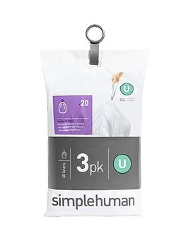 simplehuman-3-packs-of-20-bin-liners-60-liners-total-ndash-code-u