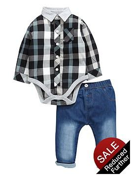 ladybird-baby-boys-smart-shirt-bodysuit-and-stretch-skinny-jeans-set