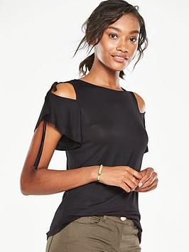 v-by-very-tie-detail-cold-shoulder-tee