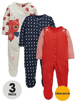 ladybird-baby-girls-floralowl-printed-sleepsuits-3-pack